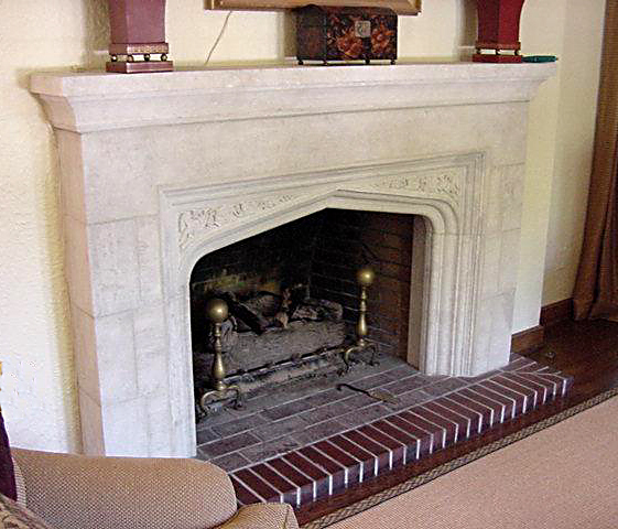 Tudor Limestone Fireplace Example