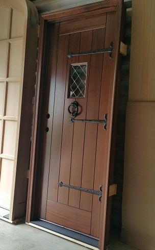 Mahogany Tudor Plank Door With Our Strap Hinges And Heavy Door Knocker