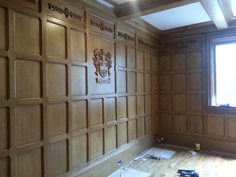Tudor Study Quartsawn Oak Paneling Detail with Carved Coat of Arms