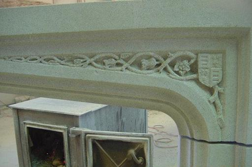 Tudor Limestone Fireplace Spandrel Detail