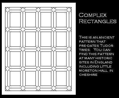 Tudor Window Leaded Glass panel - Complex Rectangles