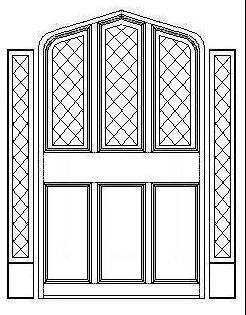 Tudor Gothic Panel Door with Triple Diamond Windows and Diamond Sidelights