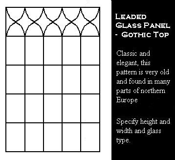 Tudor Window Leaded Glass panel - Gothic Top Rectangle