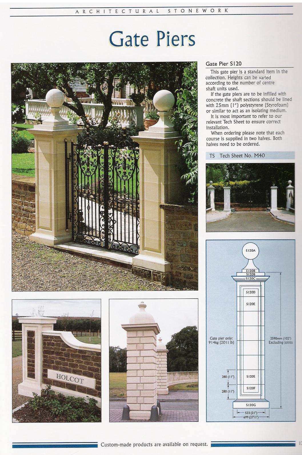 Tudor Artisans Cast Stone Gate Piers Amp Pier Caps